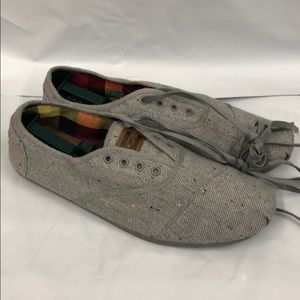 Toms Grey Canvas Lace up Shoes size 13 Casual